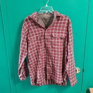 Long sleeved, red plaid, cotton shirt